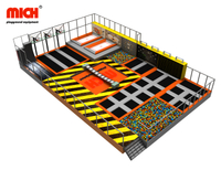 Middle Size Trampoline Park With Basketball, Olympic Trampoline, Climbing Wall, Foam Pit, Air Bag, Sticky Wall, Parkour