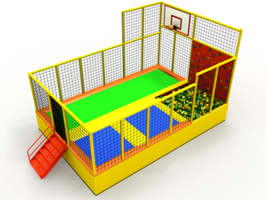 Small Colorful Trampoline Park with Basketball