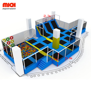 Fun indoor professional children bungee jumping trampoline with foam pit