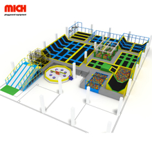 Colorful large kids and adults commercial indoor trampoline park