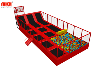 Trampoline Set with Foam Pit, Basketball