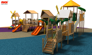 Wooden Outdoor Playground Equipment with Roof