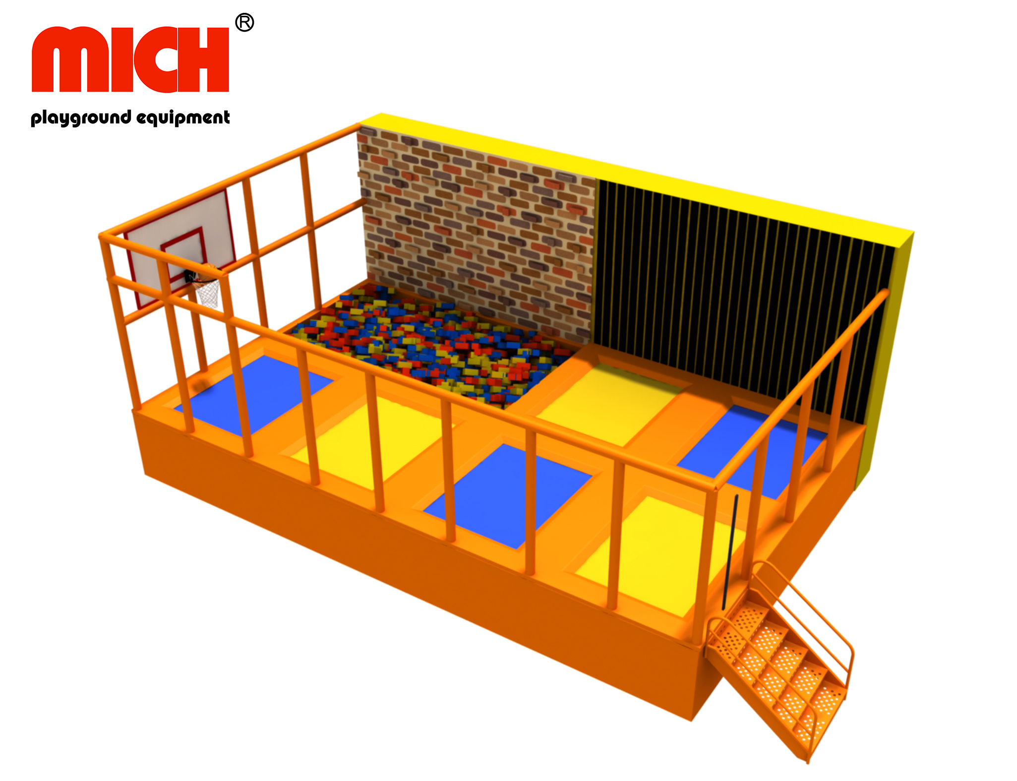Small Indoor Trampoline with Climbing Wall, Foam Pit, Basketball for Sale