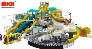 Big Kids Indoor Playground with Kids Playhouse, Big Slide, Ball Pool, Zipline